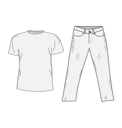T-shirt and jeans sketch set vector image