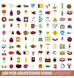 100 pub advertising icons set flat style vector image