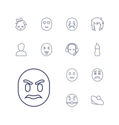 13 face icons vector