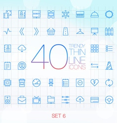 40 Trendy Thin Icons for web and mobile Set 6 vector image