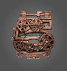 5 rusted letter with gears vector