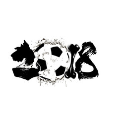 Abstract number 2018 dog and soccer ball vector