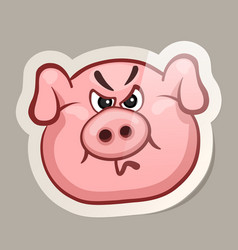 angry pig sticker vector image