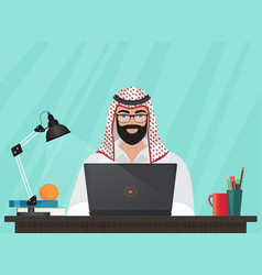 Arab muslim businessman or programmer sitting at vector