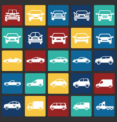 automobile icons set on color squares background vector image