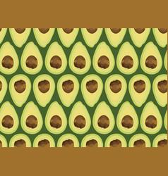 avocado slice seamless pattern on green vector image