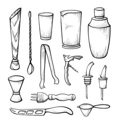bar equipment sketch black and white vector image