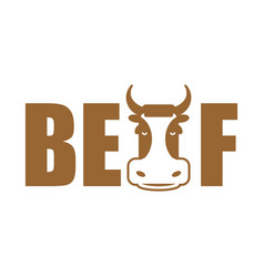 beef lettering emblem head cow and letters vector image