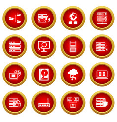 Big data icon red circle set vector
