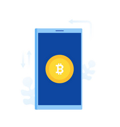 bitcoin coin on phone screen vector image