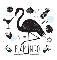 Black silhouette flamingo and summer icons set vector