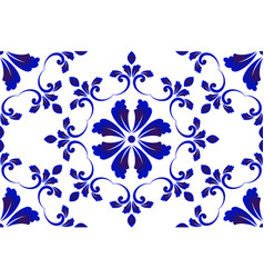 Blue and white decorative pattern vector