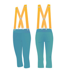 Blue short pants with suspenders vector