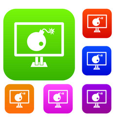 bomb on computer monitor set collection vector image