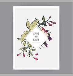Botanical wedding invitation card template design vector
