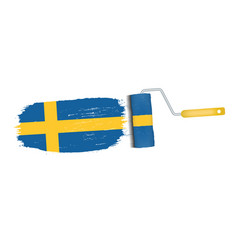 brush stroke with sweden national flag isolated on vector image