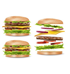 burger ads for your design delicious hamburger vector image