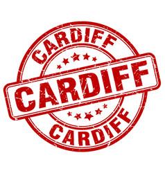 Cardiff red grunge round vintage rubber stamp vector