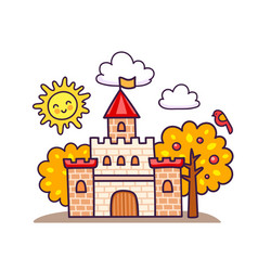 cartoon castle with autumn trees vector image