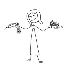 cartoon of woman deciding with healthy and vector image
