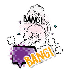 chat bubble with stars and bang patch message vector image