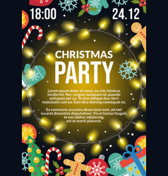 christmas party flyer poster invitation holiday vector image