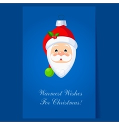 christmas toy santa claus head greeting card vector image