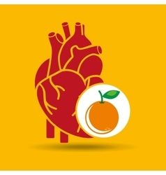 Concept healthy heart orange icon vector