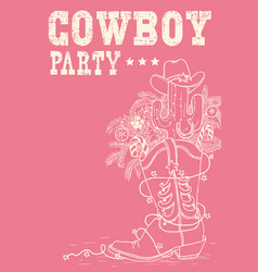 cowboy boot with christmas elements cowboy party vector image