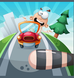 crazy man in the car funny vector image