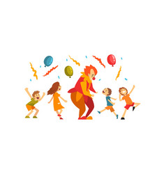 cute boys and girl celebrating kids party happy vector image