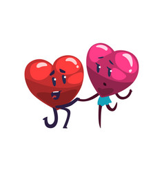cute red and pink hearts characters making vector image