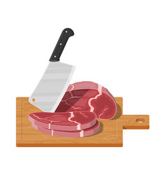 cutting board butcher cleaver and piace of meat vector image