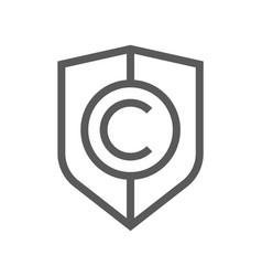 digital law copyright flat line icon vector image