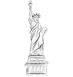 Drawing statue liberty in new york usa vector