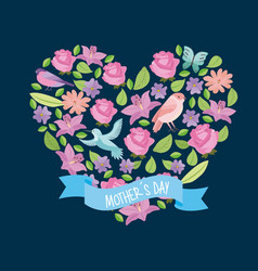 flowers and leaves shape heart with birds ribbon vector image