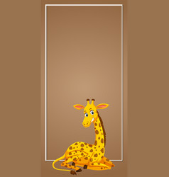 Giraffe on blank banner vector