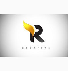 Gold r letter wings logo design with golden bird vector