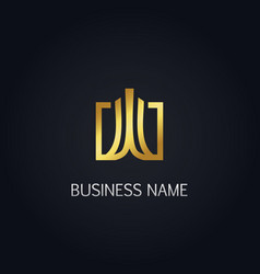 Gold square abstract building logo vector