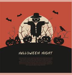 Halloween spooky poster greeting card mockup vector