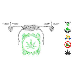 Hatch collage drone cannabis delivery icon vector