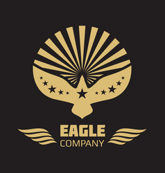 Heraldic eagle logo on black background vector