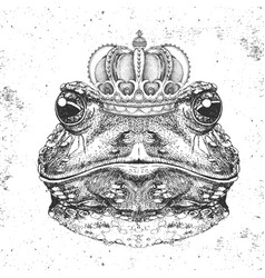hipster animal frog in crown hand drawing muzzle vector image