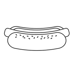 Hot dog fast food thin line vector