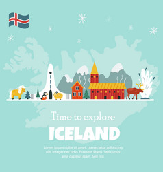 iceland cartoon banner travel vector image