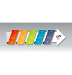 infographic arrow timeline template with 5 steps vector image