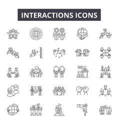 Interactions line icons for web and mobile design vector