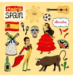 Landmarks and icons spain vector