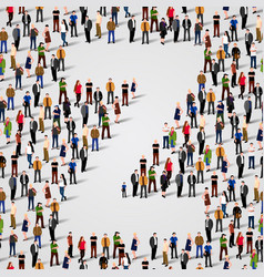 large group of people in letter z form vector image