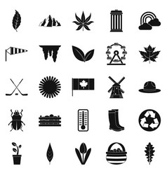 Leaf icons set simple style vector